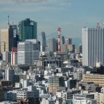 Blick auf die Hochhäuser im Tokioter Stadtteil Shiodome, im Hintergrund der Fuji (c) Sonja Blaschke